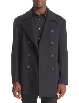 Trim Fit Wool & Cashmere Peacoat by John Varvatos Collection