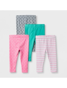 Baby Girls' 4pk Leggings Pants   Cat & Jack™ Multicolored by Cat & Jack™