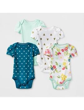 Baby Girls' 4pk Short Sleeve Bodysuit Mint/Blue Preemie   Cloud Island™ by Cloud Island™