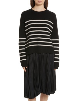 Cashmere Stripe Boxy Crew Sweater by Vince