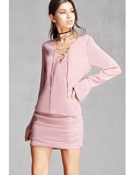 Line & Dot Lace Up Mini Dress by Forever 21