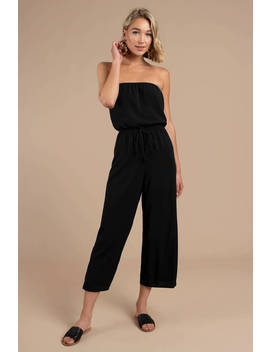 Sounds So Easy Black Strapless Jumpsuit by Tobi