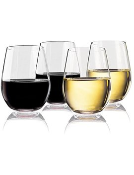 Vivocci Unbreakable Elegant Plastic Stemless Wine Glasses 20 Oz   100 Percents Tritan Heavy Base   Shatterproof Glassware   Ideal For Cocktails & Scotch   Perfect For Homes & Bars   Dishwasher Safe   Set Of 4 by Vivocci
