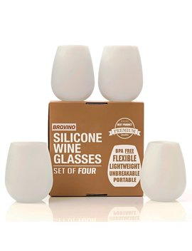 Silicone Wine Glasses   Set Of 4   Unbreakable Outdoor Rubber Wine Cups: 14 Oz, Clear Silicone. 100 Percents Dishwasher Safe   Shatterproof Glasses For Travel, Outdoor, Picnic, Pool, Camping by Brovino