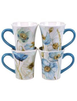Certified International Greenhouse Set Of 4 Poppies Mugs by Certified International