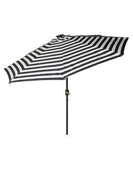 Trademark Innovations Deluxe Solar Powered Led Lighted Patio Umbrellas, 9', Blue Striped by Trademark Innovations