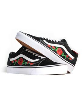 Black Vans Old Skool Red Rose Custom Shoes Embroidery by Ebay Seller