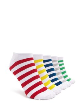Striped Ankle Socks   5 Pack by Forever 21