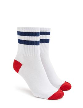 Colorblock Striped Crew Socks by Forever 21