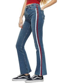 Moto Jamie Side Stripe Flared Jeans by Topshop