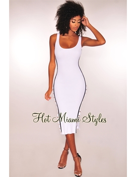 White Ribbed Knit White Striped Button Up Dress by Hot Miami Style