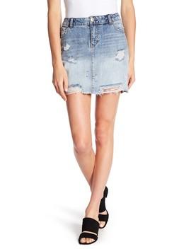 Distressed Denim Mini Skirt by 1822 Denim