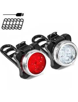 Soklit Usb Rechargeable Bike Light Front And Rear Waterproof Ipx4 Super Bright Bicycle Led Light Set 120 Lumen With 650mah Lithium Battery, 4 Light Mode Options, Including 6 Strap And 2 Usb Cables by Soklit