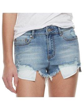 Juniors' Indigo Rein High Waisted Exposed Pocket Frayed Denim Shorts by Kohl's