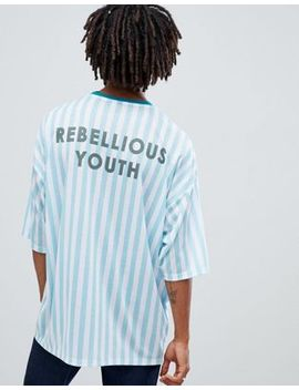 Asos Design Longline Oversized Stripe T Shirt With Rebelious Youth Back Print by Asos Design