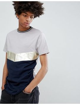 Asos Design T Shirt With Chevron Metallic Cut And Sew by Asos Design