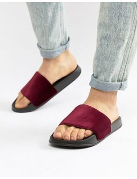 Asos Design Sliders In Burgundy Velvet by Asos Design
