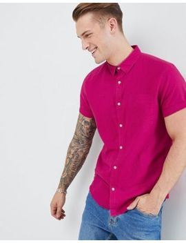 River Island Regular Fit Linen Shirt In Pink by River Island