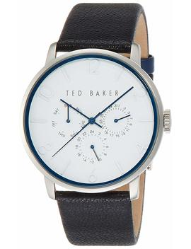Ted Baker Mens Classic Collection Custom Multifunction Sub Eye W/ Contrast Detail Date Leather Strap Watch by Ted+Baker