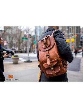 """Leather Native 16"""" Genuine Leather Retro Rucksack School/Travel Drawstring Macbook Backpack Great Gift For Men And Women Summer Sale! by Amazon"""