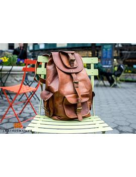 """Leather Native Halloween Sale 16"""" Genuine Leather Retro Rucksack School/Travel Drawstring Macbook Backpack Great Gift For Men And Women Sale! by Amazon"""