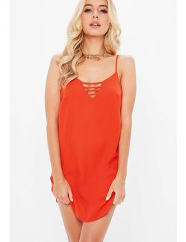 Orange Georgette Tab Side Shift Dress by Missguided