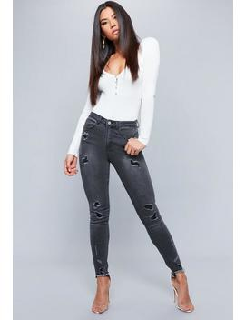 Black Sinner Highwaisted Distressed Skinny Jeans by Missguided