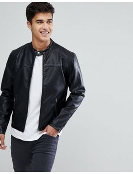 Solid Faux Leather Jacket With Biker Collar by Solid