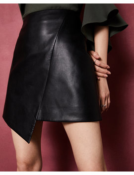 Asymmetric Faux Leather Skirt by Ted Baker