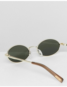Le Specs Love Train Round Sunglasses In Gold by Le Specs
