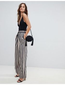 Asos Design Tailored Stripe Statement Wide Leg Trousers by Asos Design