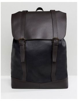Design Backpack In Leather In Black With Double Straps by Asos