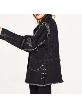 Nwt Zara Denim Jacket W/ Metallic Detail Xs Frayed Distressed Ring Eyelet Black by Zara