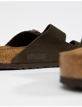 Birkenstock Arizona Sandals In Mocha Suede by Birkenstock