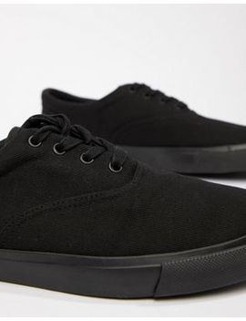 Asos Design Lace Up Plimsolls In Black by Asos Design