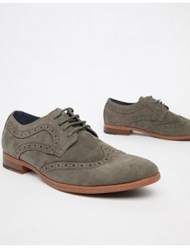 New Look Faux Suede Brogue In Grey by New Look