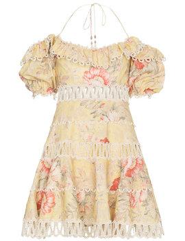 Zimmermann Jaya Wave Bodice Halterneck Cotton Linen Blend Dresshome Women Clothing Beach Dresses by Zimmermann