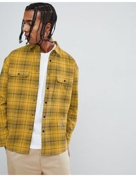 Asos Design Oversized Check Shirt With Poppers In Yellow by Asos Design