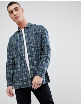 Mango Man Patchwork Check Shirt In Navy by Mango