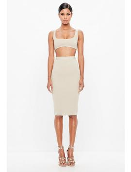 Peace + Love Cream Bandage Skirt by Missguided