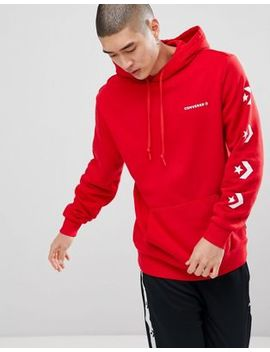 Converse Pullover Hoodie With Sleeve Print In Red 10006433 A04 by Converse