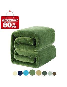 Merous Soft King Fleece Bed Blanket, Grass Green by Merous