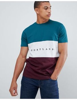 New Look Colour Block T Shirt With Portland Embroidery In Green by New Look