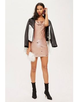 Tall Embroidered Bronze Cowl Bodycon Dress by Topshop