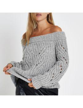 Grey Knit Bardot Jumper by River Island