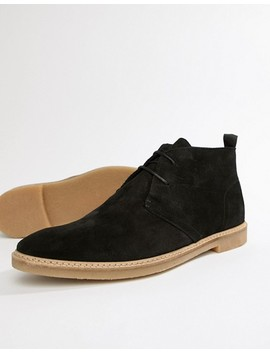 River Island Suede Chukka Boot In Black by River Island