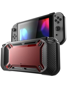 Mumba Case For Nintendo Switch, [Heavy Duty] Slim Rubberized [Snap On] Hard Case Cover For Nintendo Switch 2017 Release (Red/Black) by Mumba