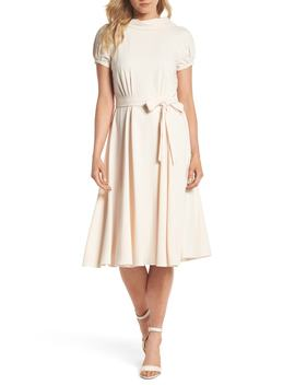 Eleanor Tie Waist Satin Twill Dress by Gal Meets Glam Collection