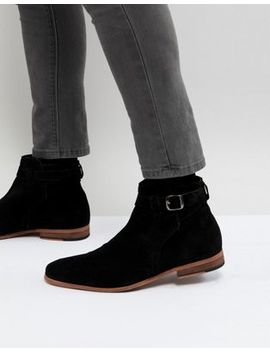 Asos Chelsea Boots In Black Suede With Strap Detail And Natural Sole by Asos