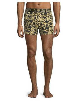 Barocco Net Short Swim Trunks by Versace